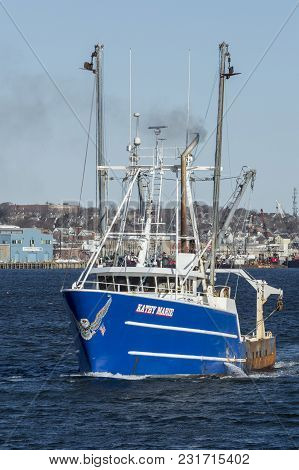 New Bedford, Massachusetts, Usa - March 18, 2018: Fishing Vessel Kathy Marie, Sporting Patriotic Eag
