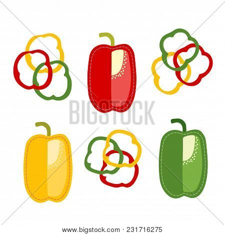 Red, Green And Yellow Bulgarian Peppers, Cartoon Foods