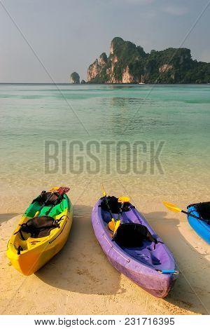 Colorful Kayaks At Ao Loh Dalum Beach On Phi Phi Don Island, Krabi Province, Thailand. Koh Phi Phi D