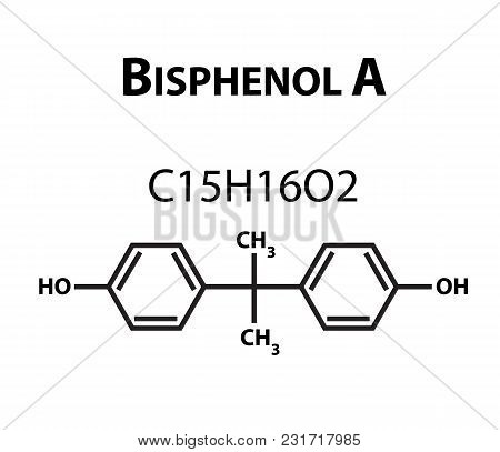 Bisphenol A. Chemical Formula. Infographics. Vector Illustration On Isolated Background