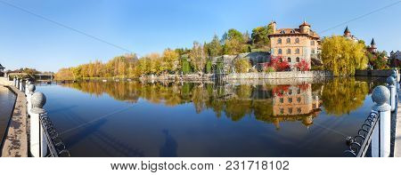House By The Lake In The Landscape Park In The Village Of Buki Ukraine October 11, 2014