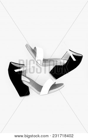 Fashion Women's Sandals With Heels, Top View, Isolated