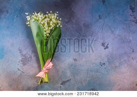 Lilly Of The Valley Flowers Bouquet On Gray Background With Copy Space, Retro Toned