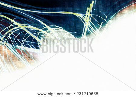 Trendy Cool Indigo Blue Abstraction With White Background In Corner, Modern Template