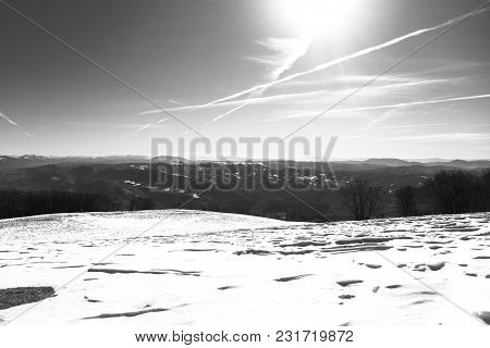 Beautiful View Of Umbria Valley In Italy On A Snowy Winter Morning With Fog Covering The Mountains I