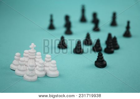 White And Black Groups Of Chess Pieces, Concept Of Attack Of Enemies, Culture Crash, Conflict With T