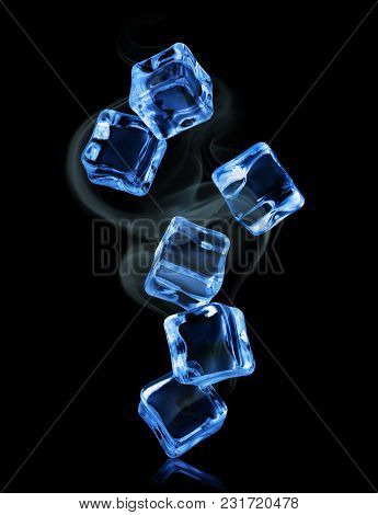 Ice Cubes In Dynamic Motion Frozen In The Air On Black Background