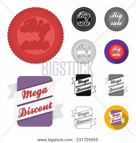 Different Label Cartoon, Black, Flat, Monochrome, Outline Icons In Set Collection For Design. Index