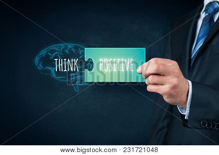 Coach Motivate To Think Positive Concept. Drawn Brain With Text Think And Piece Of Puzzle With Text