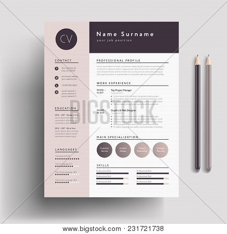 Beautiful Cv / Resume Template - Elegant Stylish Design - Dusty Pink Color Background Vector
