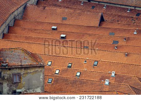 Roof Tiles Old Wine Cellars In Porto, Portugal.