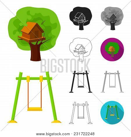 Playground, Entertainment Cartoon, Black, Flat, Monochrome, Outline Icons In Set Collection For Desi