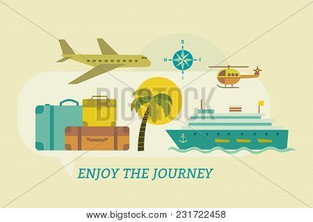 Time To Travel Icons. Flat Tourism Trip Symbol Collection. Ocean Liner Cruise Tour. Seaside Leisure