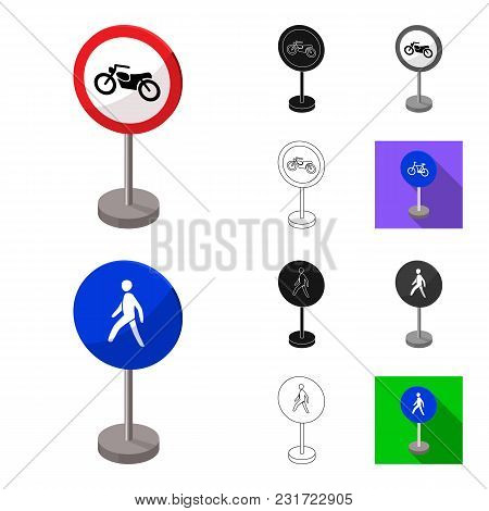 Different Types Of Road Signs Cartoon, Black, Flat, Monochrome, Outline Icons In Set Collection For