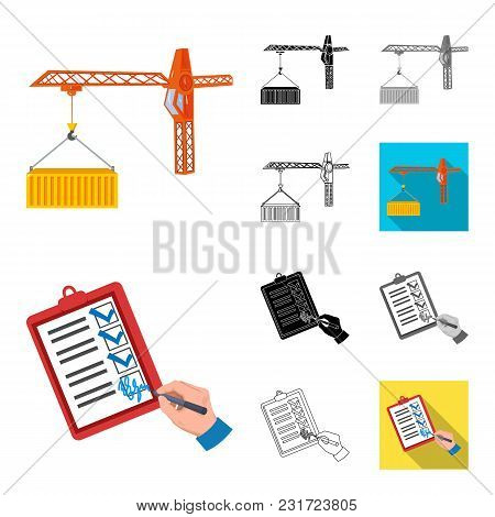 Logistics And Delivery Cartoon, Black, Flat, Monochrome, Outline Icons In Set Collection For Design.