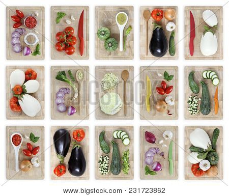 Set Of Cutting Boards With Many Vegetables Isolated On White Background