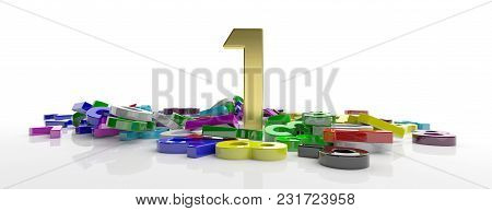 Number One Concept. Golden One Figure On Colorful Numbers Heap, Isolated On White Background, Banner