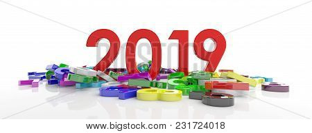 2019 New Year. Red 2019  Figures And Colorful Numbers Heap Isolated On White Background, Banner. 3D