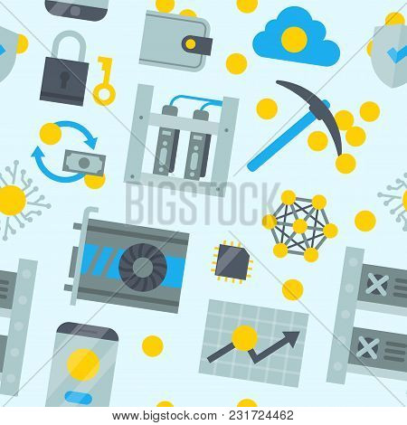 Bitcoin Mining Money Icons Vector Virtual Crypto Currence Blockchain Finance Internet Business Bit C