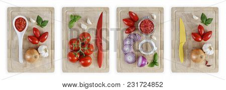 Set Of Cutting Boards With Tomatoes, Onions, Garlic, Basil And Sauce, Vegetables Food Top View  Isol