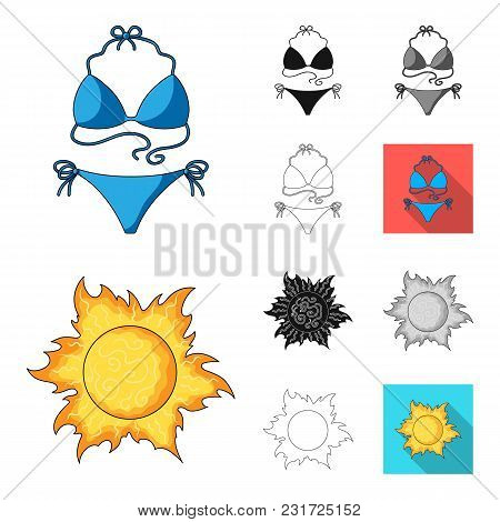 Summer Rest Cartoon, Black, Flat, Monochrome, Outline Icons In Set Collection For Design. Beach Acce
