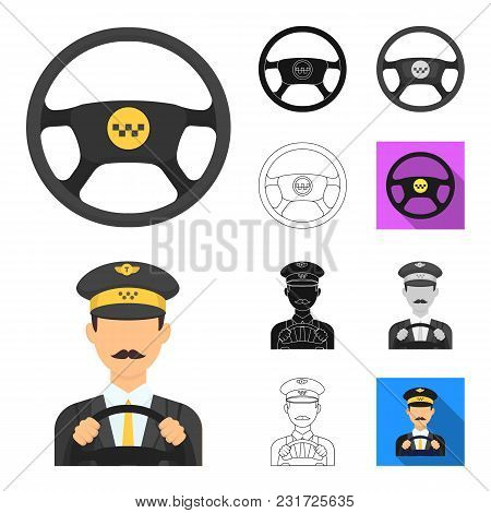 Taxi Service Cartoon, Black, Flat, Monochrome, Outline Icons In Set Collection For Design. Taxi Driv