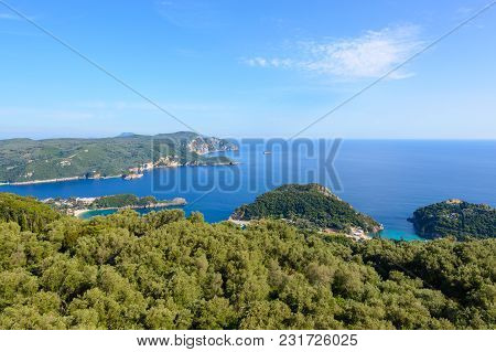 The Bay Of Palaiokastritsa Located On The Northwest Coast Of Corfu. Greece.