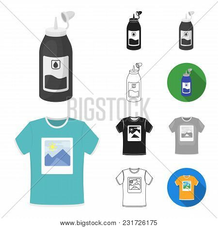 Typographical Products Cartoon, Black, Flat, Monochrome, Outline Icons In Set Collection For Design.