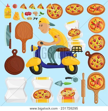 Pizza Delivery Boy Italian Pizzeria Cartoon Courier On Motorbike And Deliver Dinner Icon Food Box Fa