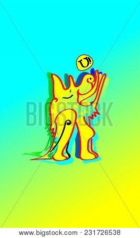 Animal Emotion. Cartoon Illustration. Howling The Moon Yellow Earth Dog. Ethnic Dog Howl The Moon, I