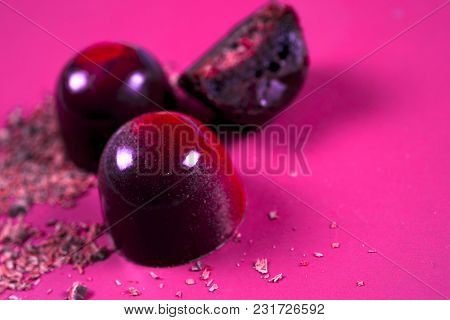 Top View Of Set Of Beautiful And Delicious Chocolate Sweets Decorated With Assorted Chocolate Crumbs