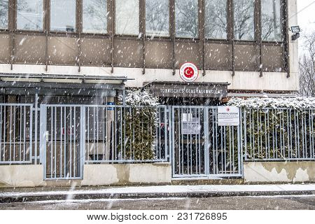 Munich , Germany - February 17 2018 : The Consulate General Of Turkey In The Snow Storm.