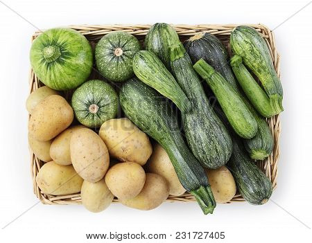 Basket Of Zucchini, And Potatoes Food Top View Isolated On White Background
