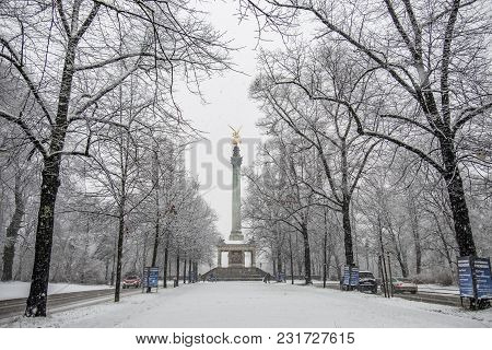 Munich , Germany - February 17 2018 : The Angel Of Peace On The Top Of Friedensengel Monument In Mun