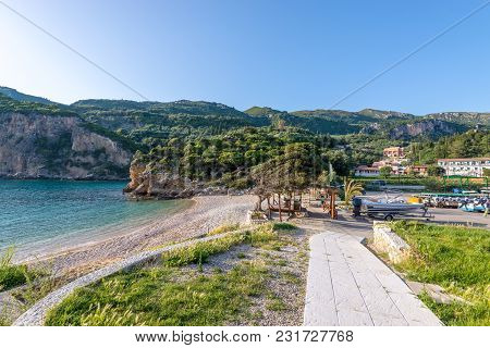 Paleokastritsa Bay With Sand And Crystal Sea Water. Corfu Island, Greece.