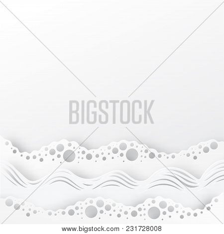 Abstract Paper Art Sea Or Ocean Water Waves. Summer White Elegant Background. Paper Sea Waves With L