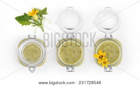 Zucchini Sauce Jar And Flowers Food Top View Isolated On White Kitchen Worktop