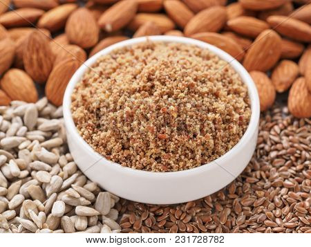 Homemade Lsa Mix In Plate - Linseed Or Flax Seeds, Sunflower Seeds And Almonds. Traditional Australi
