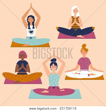Set With Beautiful Women In Lotus Buddha Asana Pose Of Yoga. Vector Set Of Exercises Illustration. F