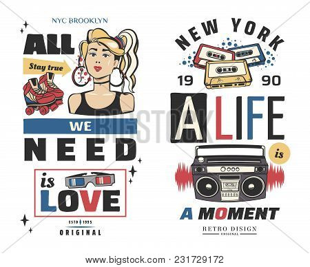 Typography Slogan With Girl, Tape Recorder, In 80s 90s Memphis Style Vector For T Shirt Printing, Gr