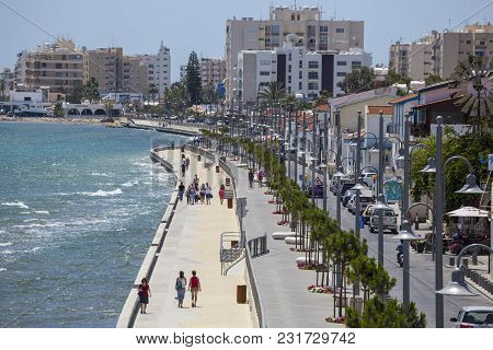 19 Of May 2016. Cyprus. Larnaca City,   Tourists Stroll Along The Waterfront Along The Sea. Concept