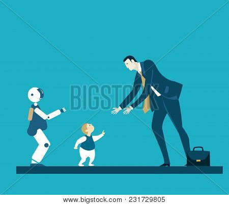 Child Meeting Parent After Work. Robot Babysitter, Early Stage Robotic Teaching Process. Future Real