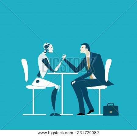 Businessmen and robot having discussion. Future reality, artificial intellect. Humans vs robots.