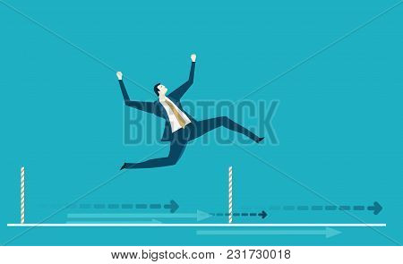 Businessman  Running First On The Finish Line. Winning Concept Business Illustration