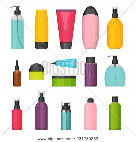 Set Of Vector Colorful Cosmetic Bottles For Beauty And Cleanser, Skin And Body Care, Toiletres. Flat