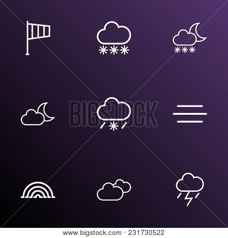 Climate Icons Line Style Set With Snowfall, Moonshine, Thunderstorm And Other Snowfall Elements. Iso