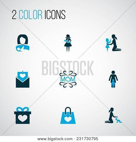 Mothers Day Icon Colored Design Concept. Set Of 9 Such Elements As Protect, Postcard And Package. Be