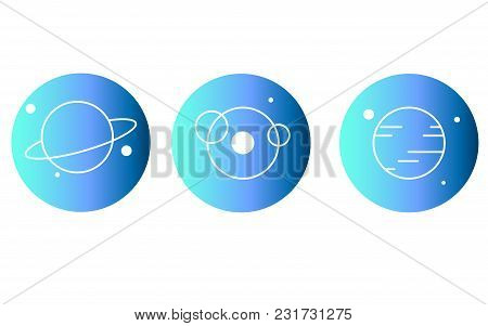 Set Space Illustrations. A Set Of Planets On A Blue Background. Vector Illustration.
