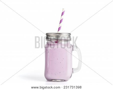 Blueberry Smoothie In Mason Jar Glass. Isolated On White With Clipping Path.