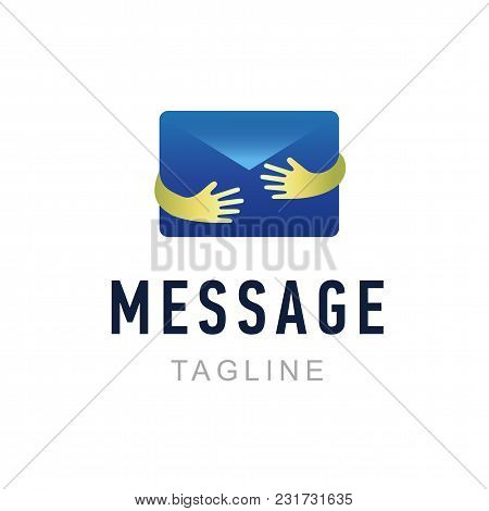 Message Logo Template. Hand Holding Envelope. Mail Service Identity, Commercial And App Icon Symbol.